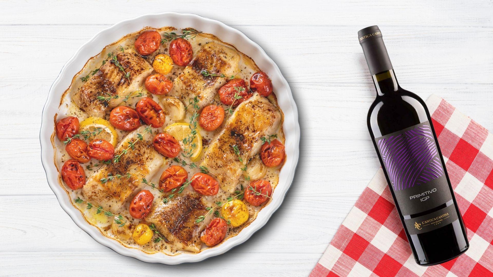 Baccalà in umido con pomodorini ed un vino di eccellenza: Nobiles Primitivo!